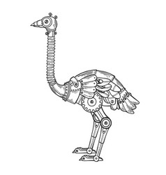 Mechanical ostrich bird animal engraving vector