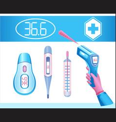 medical body thermometer icon set fever check vector image