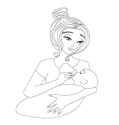 mother feeding her baby vector image
