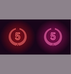 neon icon of red and pink fifth place vector image