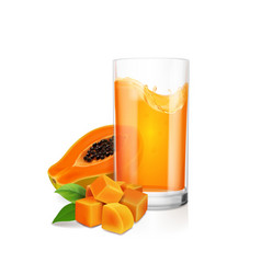 Papaya juice in drinking glass and fresh fruit vector