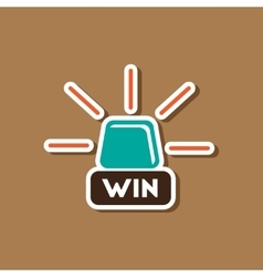 Paper sticker on stylish background Win lamp vector