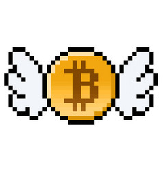 Pixel bitcoin with wings vector