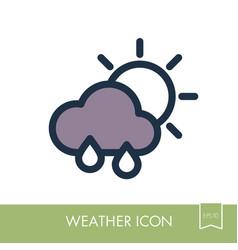 rain cloud sun icon meteorology weather vector image