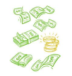 Raining money seamless pattern vector