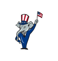 Republican Mascot Elephant Waving US Flag Cartoon vector image