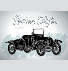 Retro car cabriolet draw isolated on vector