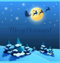 Santa sleigh in moonlight year vector