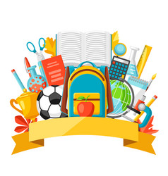 School background with education items vector