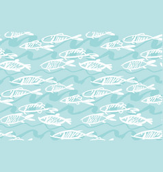 seafood fish seamless pattern for menu poster vector image