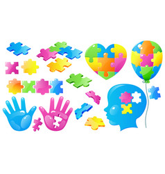 Set autism world day awareness puzzle pieces vector