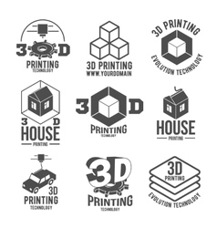 set of 3d printer badges logotypes and icons vector image