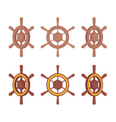 set of wooden ship steering wheels in different vector image