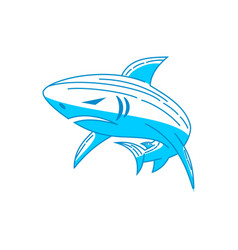 shark power logo design outline isolated concept vector image
