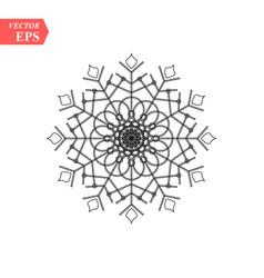 Snowflake icon flat in black vector