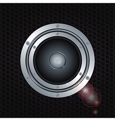 Speaker double ring over metal background vector