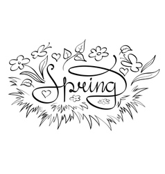 Spring text with floral decorative elements vector image