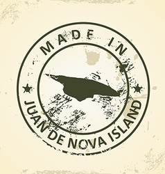 Stamp with map of Juan de Nova Island vector