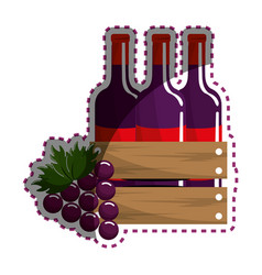 sticker bottles wine and grape icon vector image