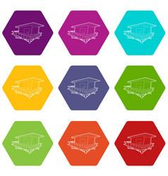 Stilt house icons set 9 vector