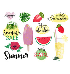 Summer collection set hand drawn images vector