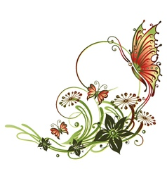 Tendril butterflies flowers vector