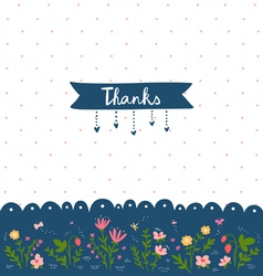 Thank you card with floral decorations vector