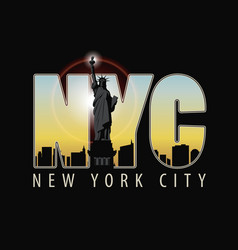 The letters nyc on the landscape of new york vector