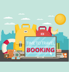 time to travel set travel equipment flat vector image