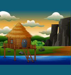 Traditional cabin house above the river vector