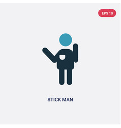 Two color stick man icon from people concept vector