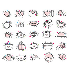 valentines day icons heart in love and vector image