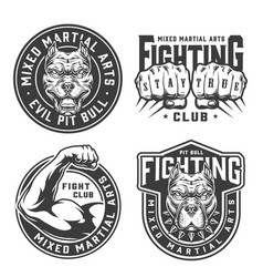 Vintage monochrome fight club badges vector