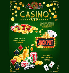 vip casino jackpot poster online gambling club vector image