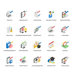 Virtual education isometric icons pack vector