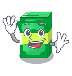 Waving stack of dollars isolated on mascot vector