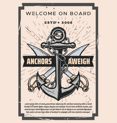 Welcome on board pirate sabers and marine anchor vector