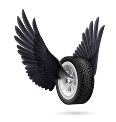 Wheel with wings vector image