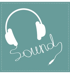 White headphones with cord in shape word sound vector