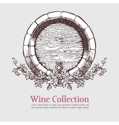 Wine barrel with grapes wreath vector