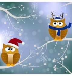 winter card with birds vector image