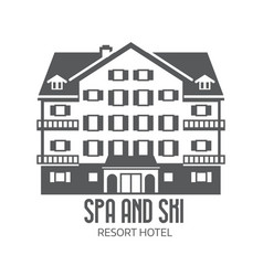 winter ski and spa resort hotel logo vector image