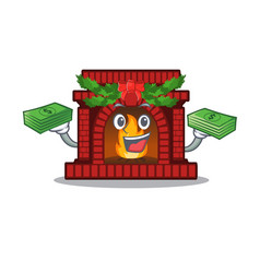 With money bag christmas fireplace on cartoon vector