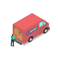 worker loads the van with cardboard boxes vector image