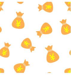 Yen yuan bag money currency icon seamless pattern vector