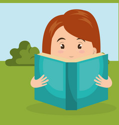 young woman reading in the field character scene vector image