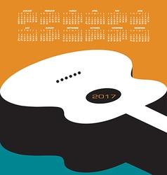 A 2017 calendar with a guitar theme vector image vector image