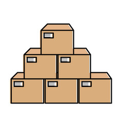 boxes carton isolated icon vector image