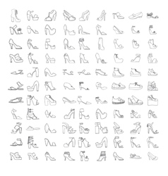 Large set with summer and spring shoes vector image