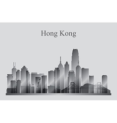 Hong Kong city skyline silhouette in grayscale vector image